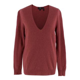 Theory Cashmere Antique Rose V-Neck Sweater