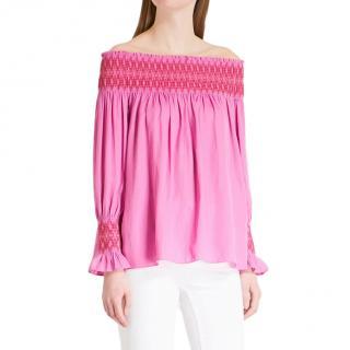 Maje Lofaur Pink Off-Shoulder Top