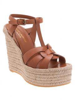 Saint Laurent Tan Leather Espadrille Wedge Sandals