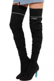 Vetements Black Sock jersey over-the-knee boots