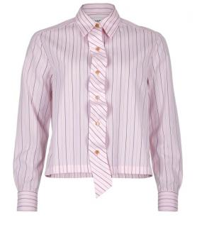 Chanel Pale Pink Ruffled Pinstripe Blouse