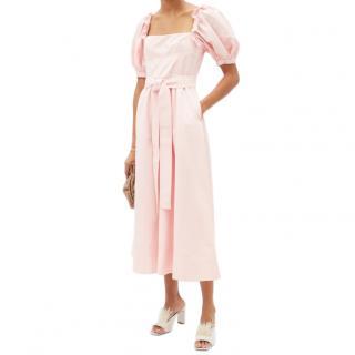 Self Portrait Pink Belted puff-sleeve taffeta midi dress