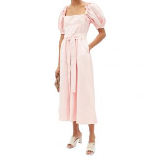 Self Portrait Pink Belted puff-sleeve taffeta midi dress