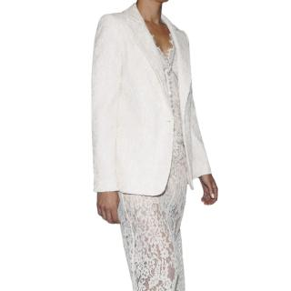 Self Portrait Ivory Fine Corded Lace Blazer