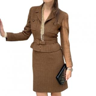 Chanel Vintage Brown Tweed Houndstooth Belted Jacket & Skirt