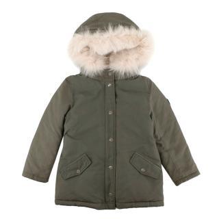 Bonpoint Khaki Fox & Rabbit Fur Trimmed Down Jacket