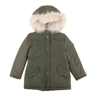 Bonpoint Khaki Fox & Rabbit Fur Trimmed Down Jacket