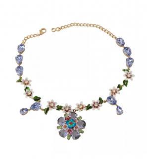 Dolce & Gabbana Lilac Crystal Flower Embellished Necklace