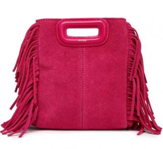 Maje Pink Suede Fringed M Shoulder Bag