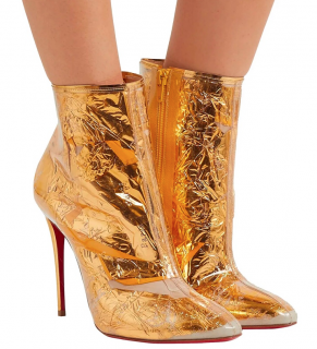 Christian Louboutin Gold Foil PCV Ankle Boots