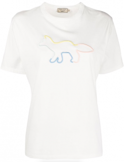 Maison Kitsune Embroidered Rainbow Fox Profile T-Shirt