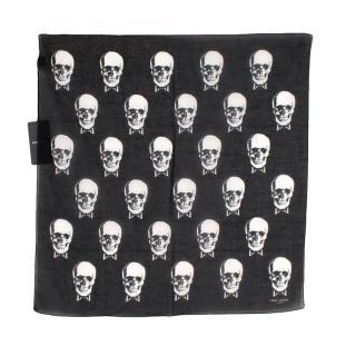 Saint Laurent Black Cotton Voile Skulls Square Bandana