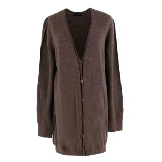 The Row Brown Wool & Cashmere blend Oversized Knit Cardigan