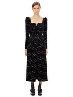 Self Portrait Black Velvet Diamante Midi Dress