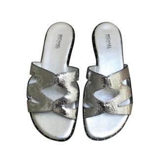 Michael Michael Kors Metallic Silver Slides