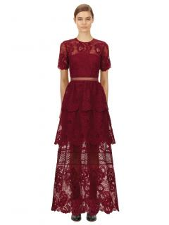 Self Portrait Berry Lace Guipure Tiered Maxi Dress