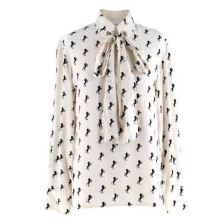 Chloe White & Black Silk Long Sleeve Horse Motif Blouse