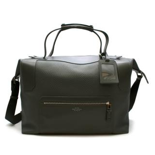 Smythson Blue-Grey Leather Weekend Travel Bag