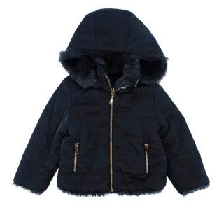 Tartine Et Chocolat Navy Padded Jacket with Faux Fur lining
