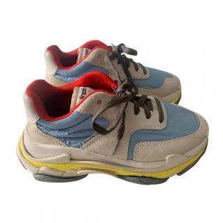 Balenciaga Nylon & Suede Triple S Sneakers