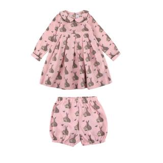 Rachel Riley Baby Girls' Bunny Flannel Bloomers Dress and bloomers