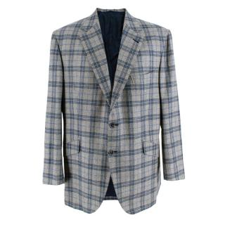Donato Liguori Grey & Blue Checkered Tailored Blazer Jacket
