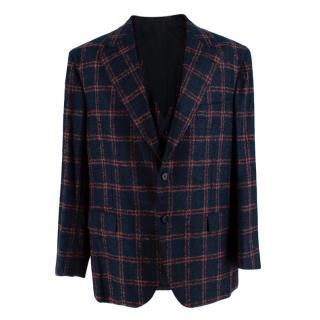 Donato Liguori Navy & Orange Mohair blend Tailored Jacket & Waistcoat