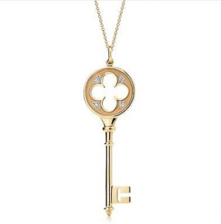 Tiffany & Co. Yellow Gold Diamond Clover Tiffany Keys Pendant
