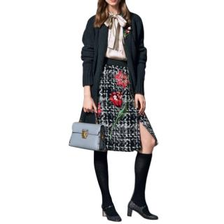 Dolce & Gabbana Boucle Tweed Floral Applique Skirt