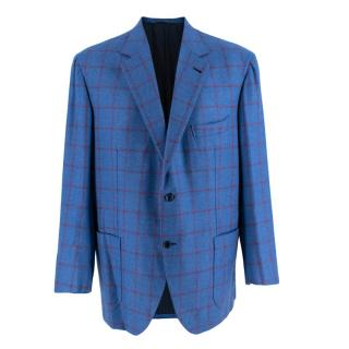 Donato Liguori Blue & Red Cashmere Blend Checkered Tailored Jacket