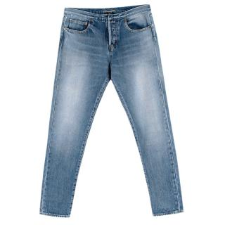 Saint Laurent Blue Distressed Denim Jeans