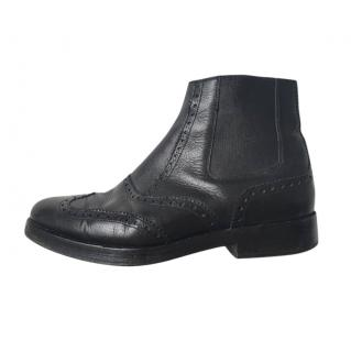 Balenciaga Black Brogue Style Ankle Boots