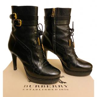 Burberry Black Leather Buckle Detail Ankle Boots