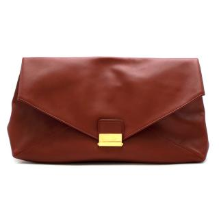 Dries Van Noten Red Leather Envelope Pouch Bag