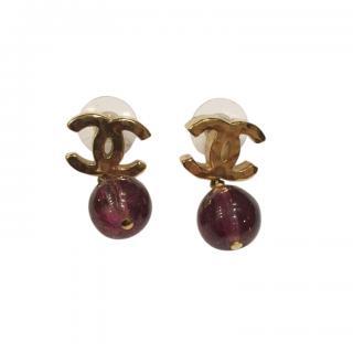 Chanel Beaded CC Drop Earrings