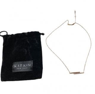 Kat Kim yellow gold diamond double bar necklace