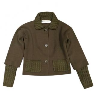 Dior Khaki Wool Jacket with Knit Cuffs, Collar & Pockets