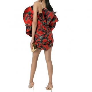 Magda Butrym Red & Black Silk Rose Mini Dress with Strass Straps