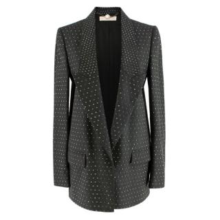 Stella McCartney Grey Studded Wool Single Breasted Blazer