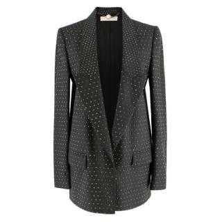 Stella McCartney Grey Studded Wool Single Breasted Blazer