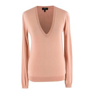 Theory Dusty Pink Silk & Cashmere blend V Neck Knit Sweater