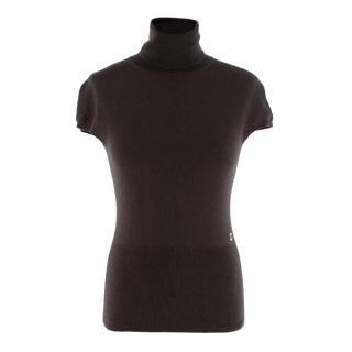 Loro Piana Brown Cashmere Cap-Sleeve Turtleneck Sweater