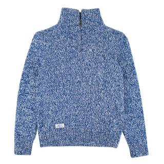 Polo Ralph Lauren Blue Cotton Knit Zipped Sweater