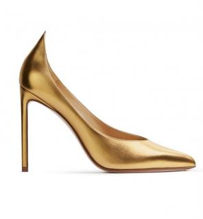 Francesco Russo laminated gold high back pumps