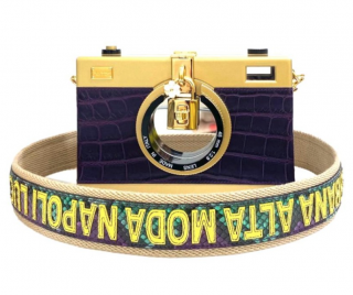 Dolce & Gabbana Purple Crocodile Camera Bag w/ Python Shoulder Strap