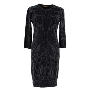 Roberto Cavalli Grey Leopard Print Wool Knit Dress
