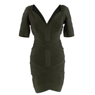 Herve Leger Forest Green Bandage Short Sleeve Mini Dress