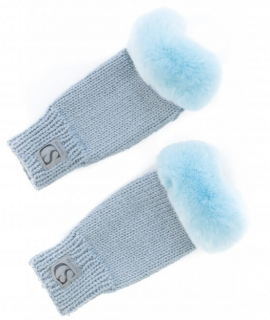 FurbySD MInk Fur Trimmed Ribbed Merino Wool Fingerless Gloves