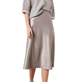 Polo Ralph Lauren Montreal Grey Liquid Satin Skirt