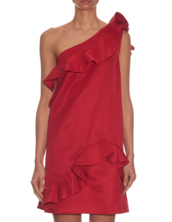 MSGM Ruffle-trimmed one-shoulder faille dress